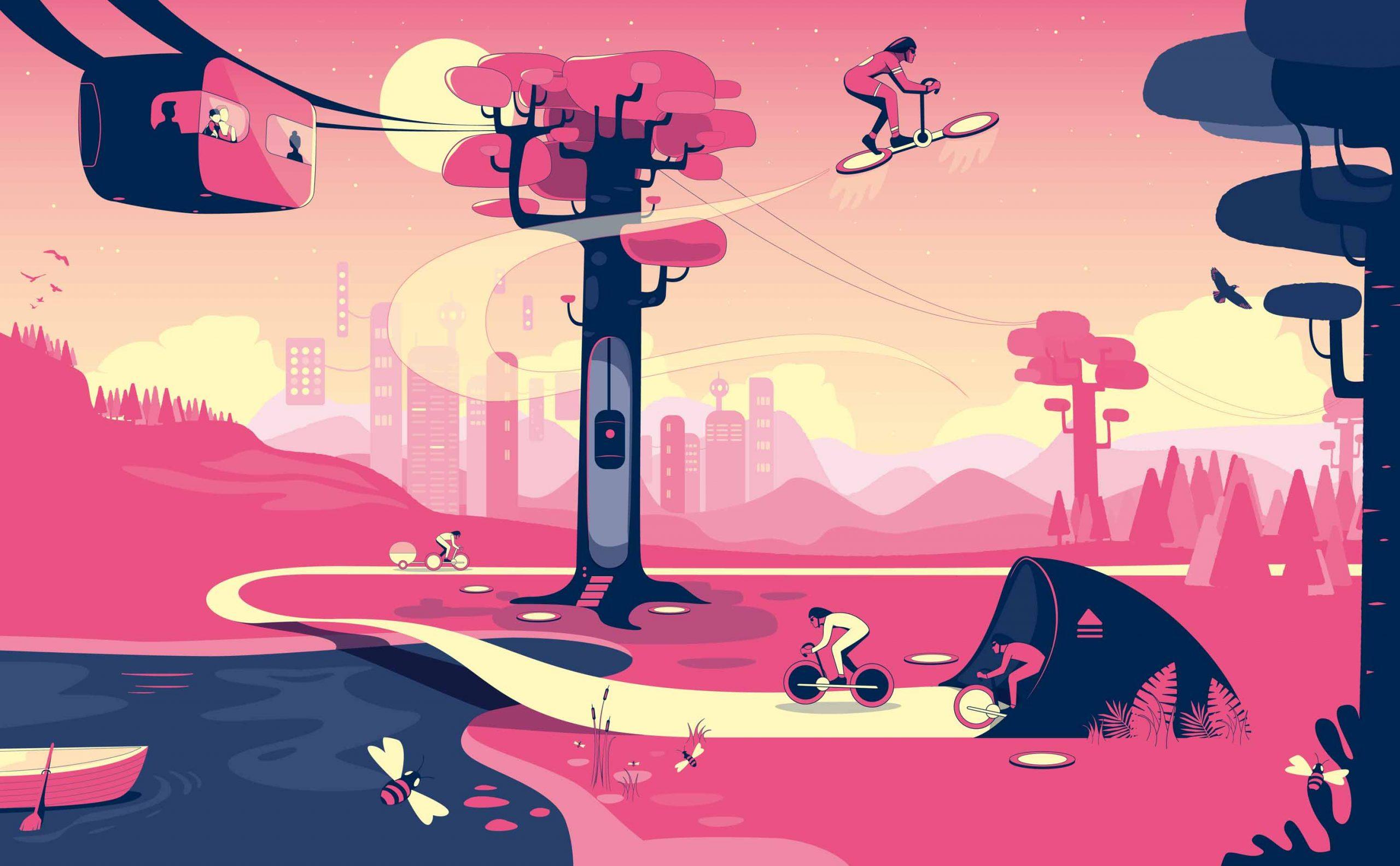 """Illustrationen für das Architekturmagazin """"topos"""" zum Thema Mobilität"""